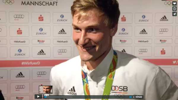 Olympia Rio 2016: Leichtathletik Speerwurf Olympiasieger Thomas Röhler im Gold-Interview - Foto: VICONPILOT / Schmidt Media