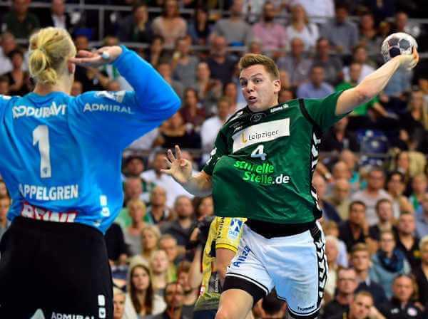 Handball Bundesliga: SC DHfK Leipzig vs. Rhein-Neckar Löwen - Mikael Appelgren und Christoph Steinert - Foto: Rainer Justen