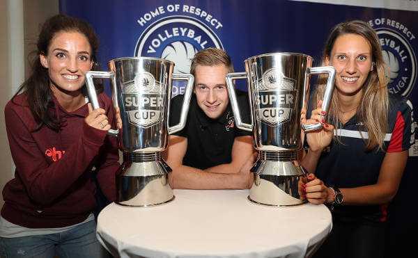 Myrthe Schoot, Sebastian Kühner und Jennifer Pettke freuen sich auf den Volleyball Supercup - Foto: Photo Wende