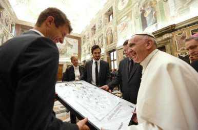 Deutschlands Fußball-Helden bei Papst Franziskus im Vatikan - Foto: GES-Sportfoto