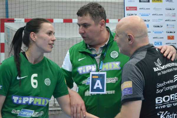 Nadine Schatzl, Gabor Elek (FTC Rail Cargo Hungaria Budapest), Herbert Müller (Thüringer HC) - Handball Champions League - Foto: Hans-Joachim Steinbach / Thüringer HC
