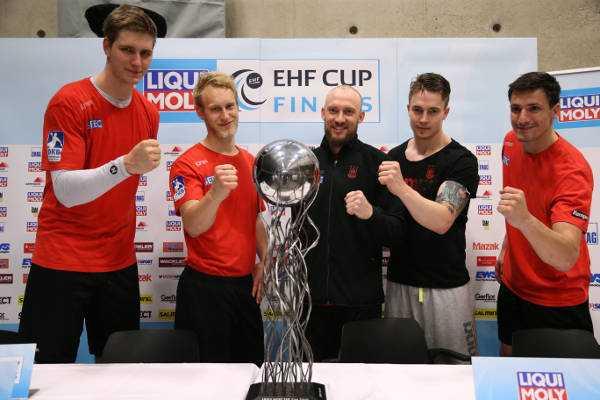 Handball EHF-Cup Final4 – Media Call: SC Magdeburg mit Michael Damgaard und Finn Lemke - Foto: EHF Media
