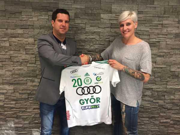 Dr. Csaba Bartha und Anja Althaus - Györi Audi ETO KC verpflichtete Anja Althaus für ein Jahr - Foto: Györi Audi ETO KC