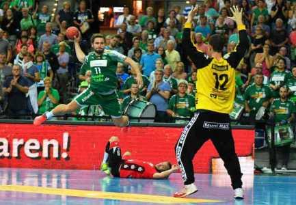 Lukas Binder - SC DHfK Leipzig vs. TV Hüttenberg - Handball Bundesliga - Foto: Rainer Justen