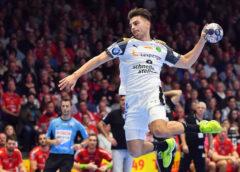 Lucas Krzikalla - SC DHfK Leipzig vs. MT Melsungen am 18.10.2017 in Melsungen - Handball DHB-Pokal - Foto: Rainer Justen