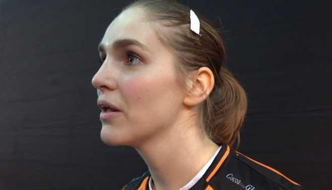 Laura van der Heijden im SPORT4FINAL-Interview bei der Handball WM 2017 nach dem Match Deutschland vs. Niederlande - Foto: Jansen Media