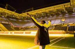 Donnerstag 22.03.2018, 1. Fussball - Bundesliga Saison 17/18 - in Dortmund, Borussia Dortmund. Usain Bolt im Stadion. Copyright: Borussia Dortmund GmbH & Co. KGaA.