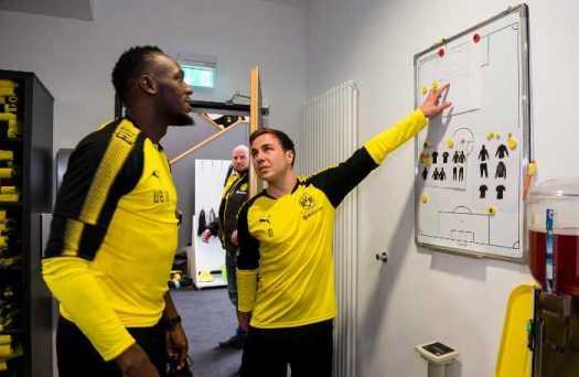 Borussia Dortmund. Usain Bolt besucht den BVB und trainiert mit der Mannschaft. Copyright: Borussia Dortmund GmbH & Co. KGaA.