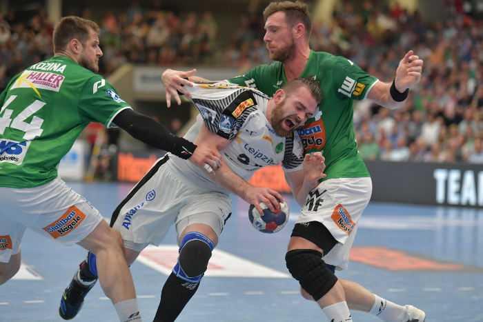 Alen Milosevic - SC DHfK Leipzig vs. Frisch Auf Göppingen - Handball Bundesliga 19. April 2018 - Foto: Rainer Justen