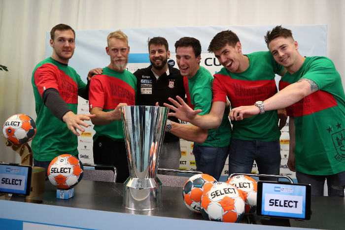 SC Magdeburg - Handball EHF Cup Finals 2018 - Media Call - Nemanja Zelenovic, Pjotr Chrapkowski, Michael Damgaard, Christian O'Sullivan, Matthias Musche, Bennet Wiegert - Foto: EHF Media