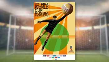Fußball WM 2018 Russland - Official Poster - Der renommierte russische Künstler Igor Gurovich wählte für die Ausgabe 2018 des offiziellen Plakats den legendären sowjetischen Torhüter Lew Jaschin als zentrale Figur seines Werkes. Foto: FIFA