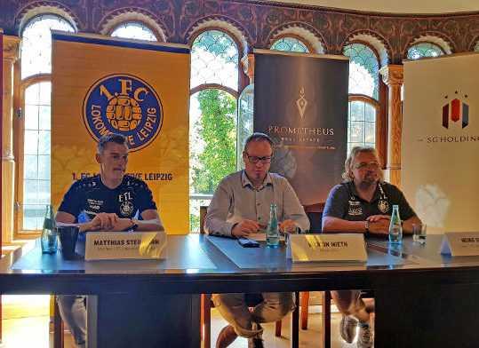 Matthias Steinborn, Martin Mieth, Heiko Scholz (v.l.) - Pressegespräch am 06.08.2018 - Foto: 1. FC Lok Leipzig