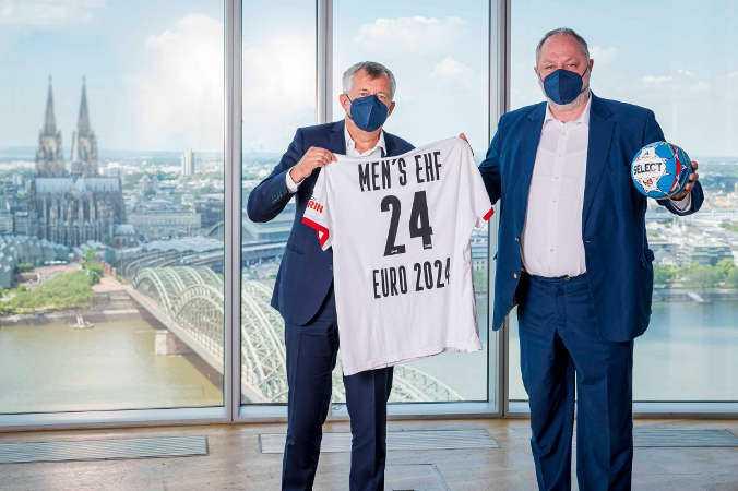 Handball EM 2024 EHF EURO - Vorstellung Spielorte - EHF-Präsident Michael Wiederer und DHB-Präsident Andreas Michelmann - Foto: Sascha Klahn