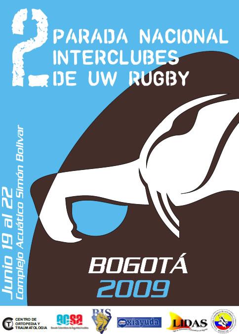 afiche 2da Parada Nacional Interclubes de Rugby Subacuático 2009 en Colombia