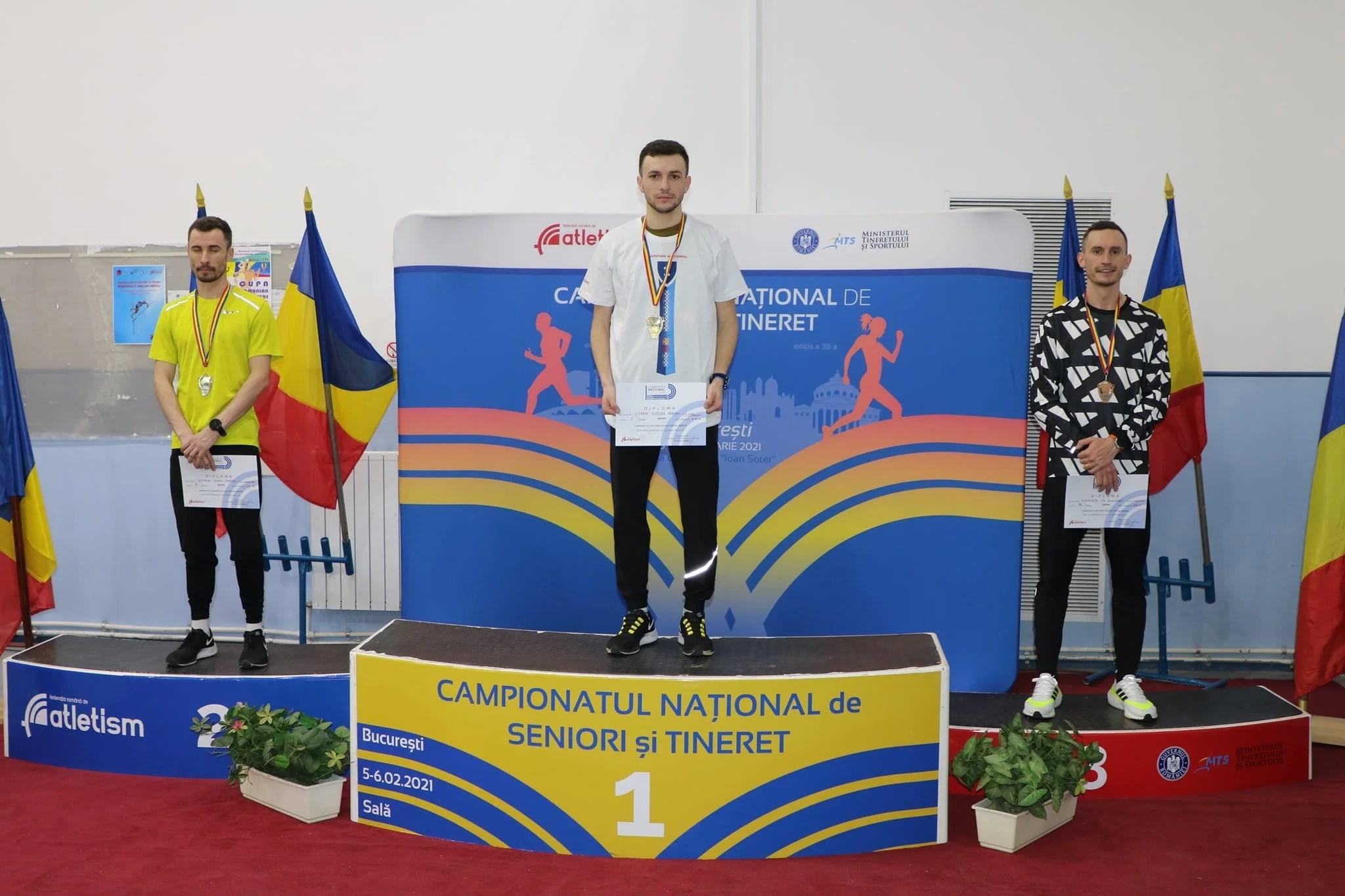 """""""Studentul"""" Nicolae Coman e noul campion național la 3000 de metri indoor, bocsiganul Gag a luat argintul la aruncarea greutății"""