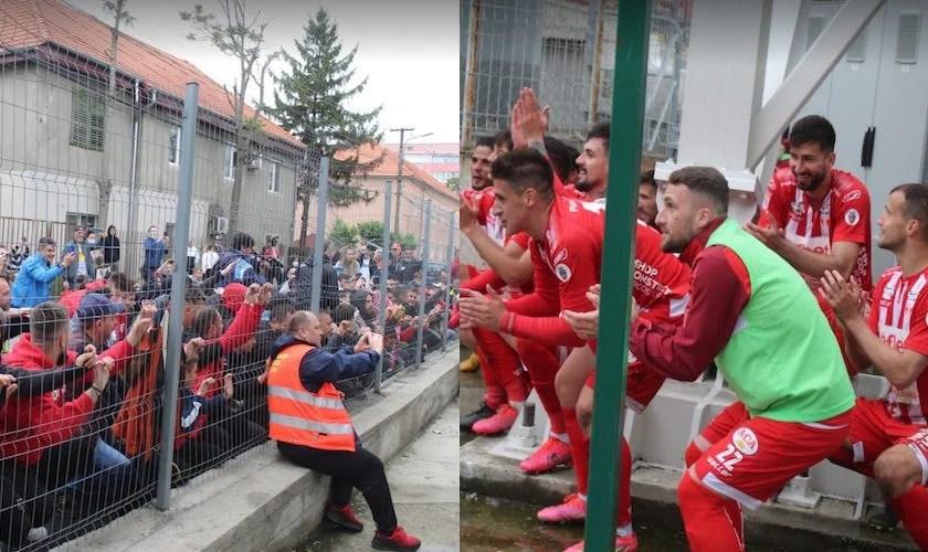 """Sărbătoare """"roș-albă"""" la gardul ce încă ține suporterii în afara stadioanelor: """"Când vor fi din nou și fizic alături de noi, toată lumea va suferi când va veni la Arad!"""""""