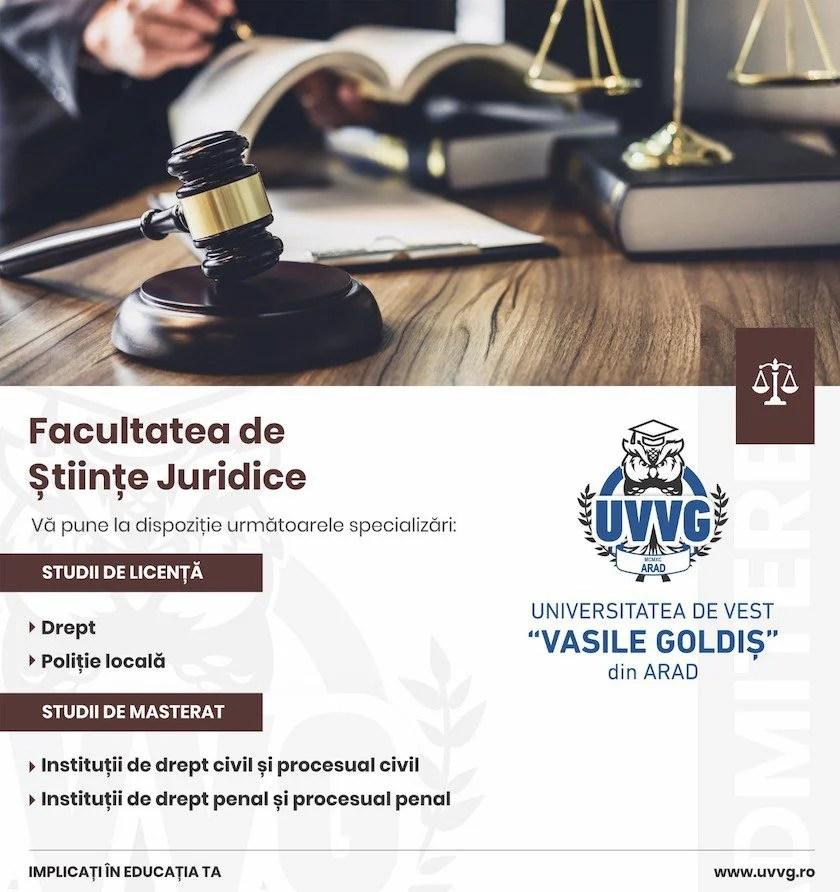 """Vrei să umezi o carieră în domeniul juridic sau în domeniul administrativ? Te așteptăm să studiezi în cadrul Facultății de Științe Juridice din cadrul Universității de Vest """"Vasile Goldiș"""" din Arad"""