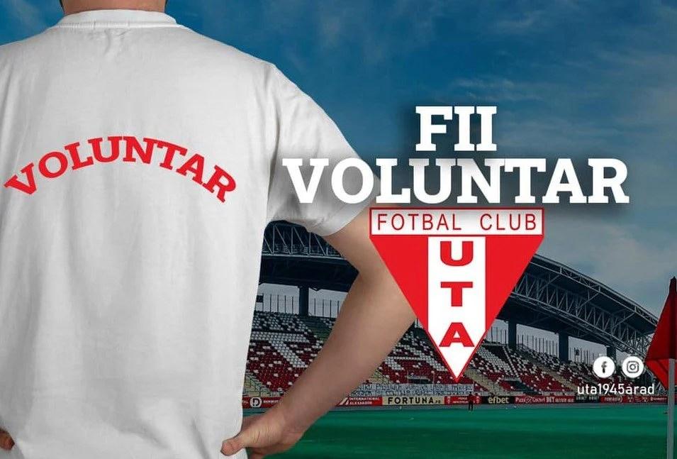 UTA are nevoie de voluntari pentru a organiza în condiții mai bune următoarele partide de pe teren propriu, în Liga 1!