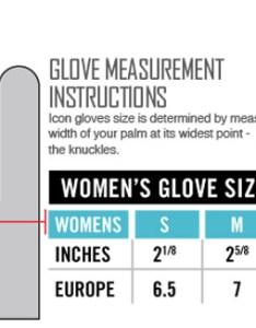 Icon women   gloves size chart also womens rh sportbiketrackgear