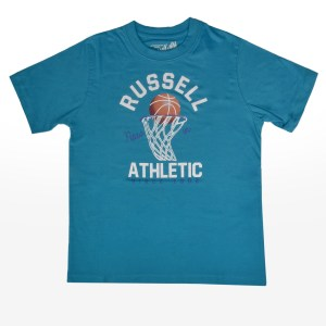 Russell Athletic - S/S TEE WITH BASKETBALL THROUG - CAPRI BREEZE