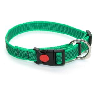 Ошейник из прорезиненной стропы 20 мм зеленый большое кольцо пластик
