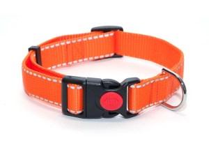 Ошейник из стропы 25 мм оранжевый рефлекс пластик с фиксатором