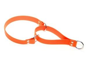 Ошейник-полуудавка из биотана 25 мм оранжевый сталь люверсы