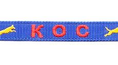 Ошейник текстильный синий с вышивкой