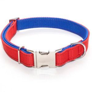 Ошейник 25 мм красно-синий двойной хром фастекс простой