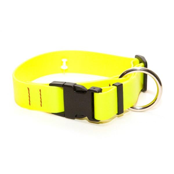 Ошейник из биотана 31 мм с большим кольцом и пластиковым фастексом лимонно-желтый