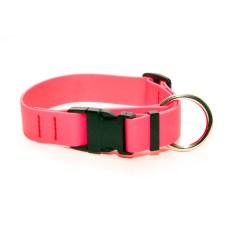Ошейник из биотана 31 мм с большим кольцом и пластиковым фастексом розовый