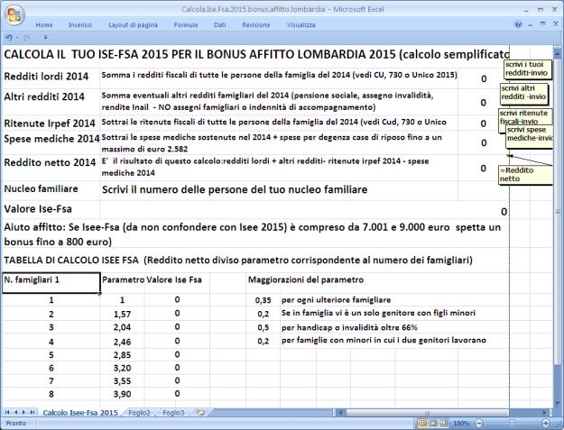 calcola ise-fsa per bonus affitto 2015
