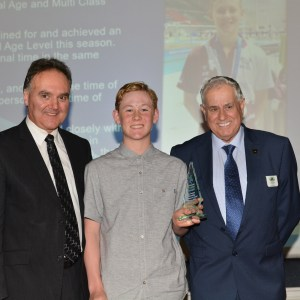 Tim Forsyth Nominee Jordyn Cargill with Program Manager Brian Ford and Morwell Bowls Club Chairman Jeffery Sawyer