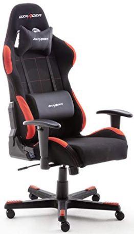 Robas Lund OH/FD01/NR DX Racer 1 Gaming-/ Büro-/ Schreibtischstuhl, mit Wippfunktion Gaming Stuhl Höhenverstellbarer Drehstuhl PC Stuhl Ergonomischer Chefsessel, schwarz-rot - 1