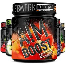 AIM BOOST   Performance Booster   400g   40 Portionen   23 Wirkstoffe   247mg Koffein + Tyrosin +Theanin   8 Vitamine   wenig Zucker   (Ice Tea Peach) - 1