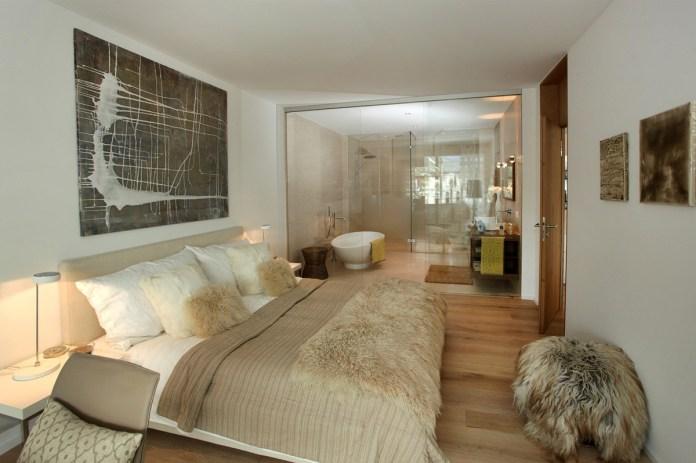 Stilli Park Davos, Musterwohnung Schlafzimmer