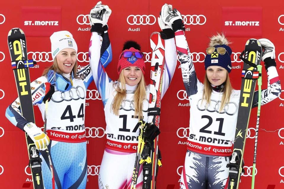 Podest beim Super G in St. Moritz mit Kling, Weirather und Fenninger