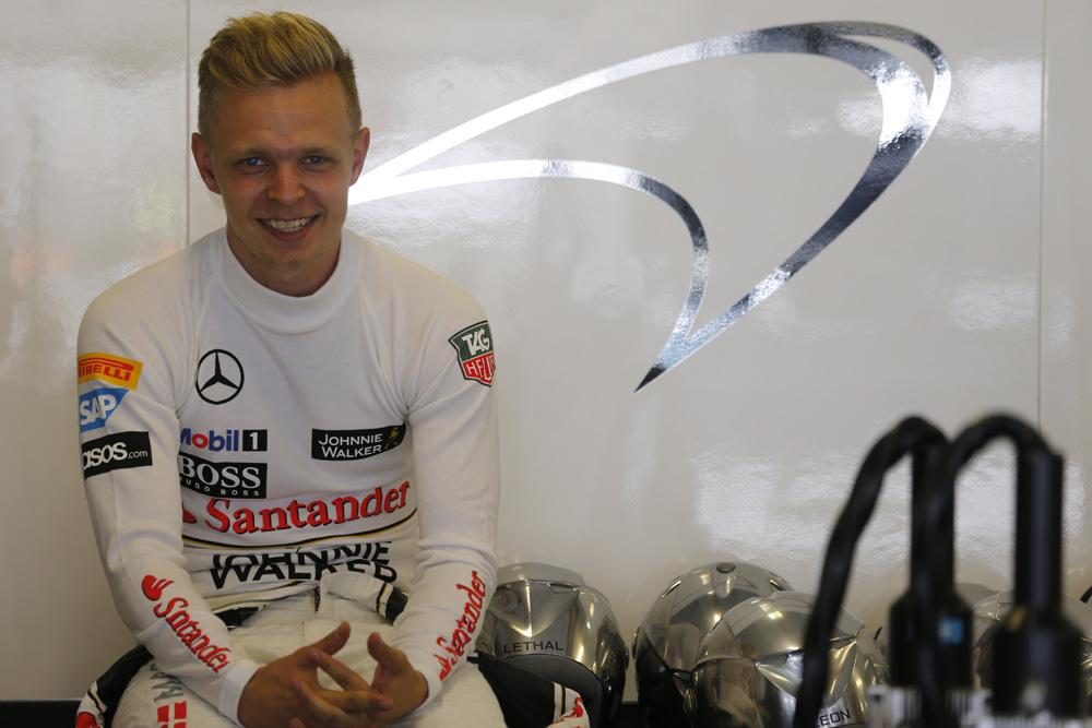 Kevin Magnussen in the garage.