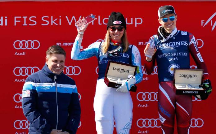 """Longines ehrt Mikaela Shiffrin und Henrik Kristoffersen mit dem """"Rising Ski Stars""""-Preis als beste Skifahrerin unter 21 Jahren und besten Skifahrer unter 23 Jahren"""