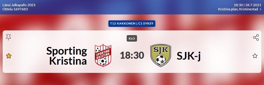 Read more about the article T12: Sporting-SJK-j, 28.7.2021 Brahekenttä kl. 18.30