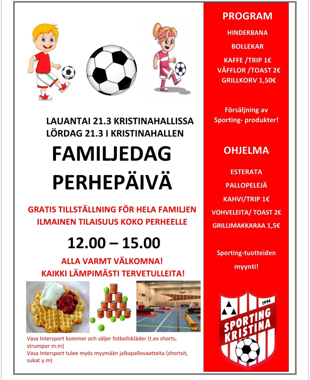 Read more about the article Peruuttu! Sportingin perhepäivä Kristiinahallissa 21.3.2020 klo 12:00-15:00