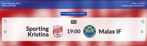 Läs mer om artikeln Sporting P12 spelar idag 1.8 på Kristinaplan kl. 19.00 Sporting – MALAX IF