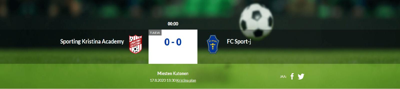 Läs mer om artikeln Sporting Kristina Academy – FC Sport-j 17.8.2020 kl.18.30