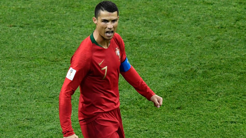 Cristiano Ronaldo celebrates his early penalty for Portugal v Spain