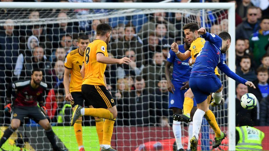Eden Hazard: The Belgian forward scores a late equaliser for Chelsea against Wolves at Stamford Bridge