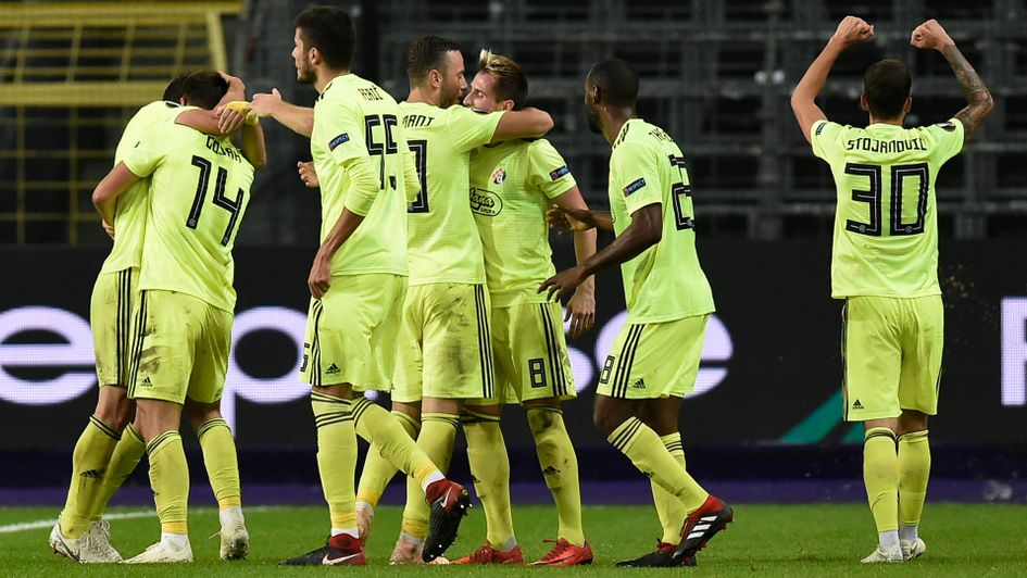 Dinamo Zagreb celebrates after a goal against Anderlecht