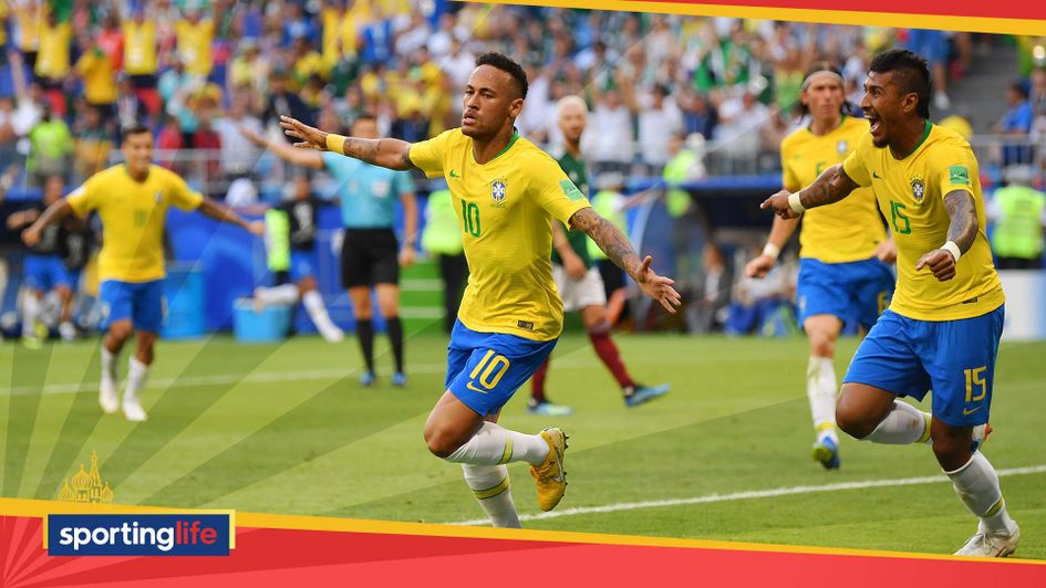 Neymar celebrates scoring for Brazil at the World Cup