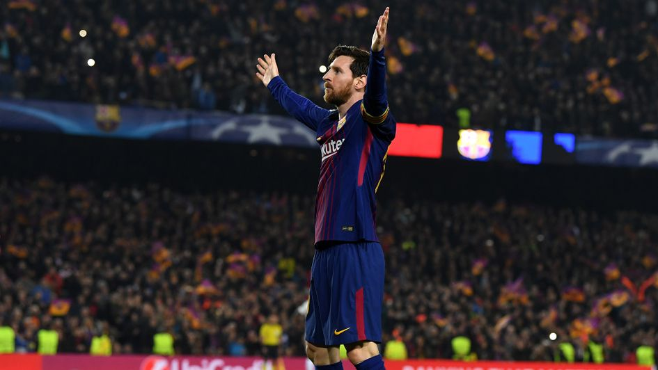 Lionel Messi celebrated his 100th Champions League goal v Chelsea