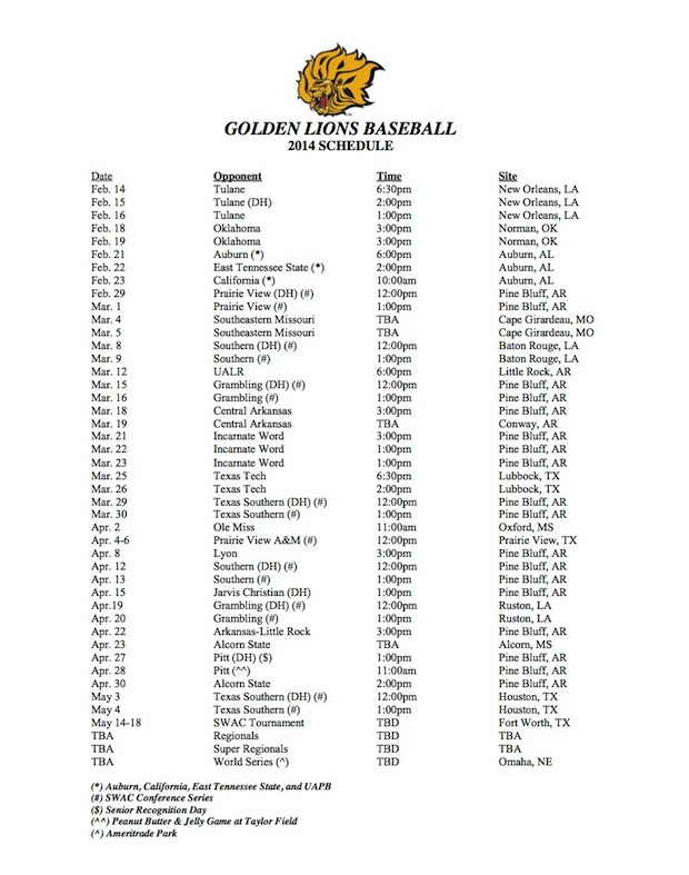 2014 UAPB Baseball Schedule Released