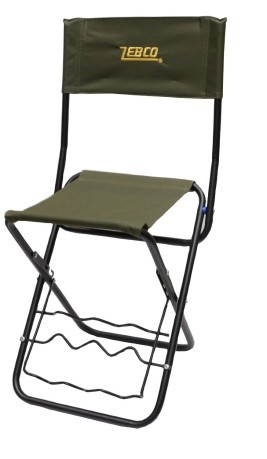 zebco fishing chair throw on with a support for the barrel colore green black folding